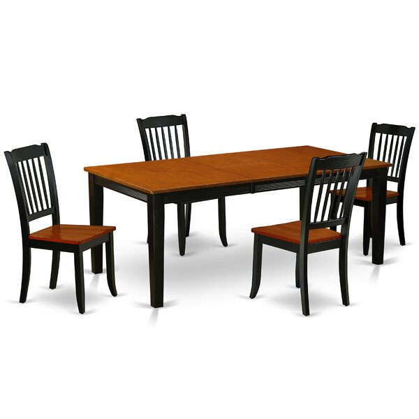 Kupang 5 Piece Extendable Solid Wood Dining Set by August Grove