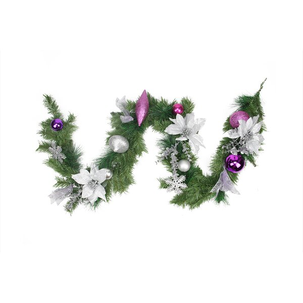 Pre-Decorated Poinsettia, Eucalyptus and Ornament Artificial Christmas Garland by Northlight Seasonal