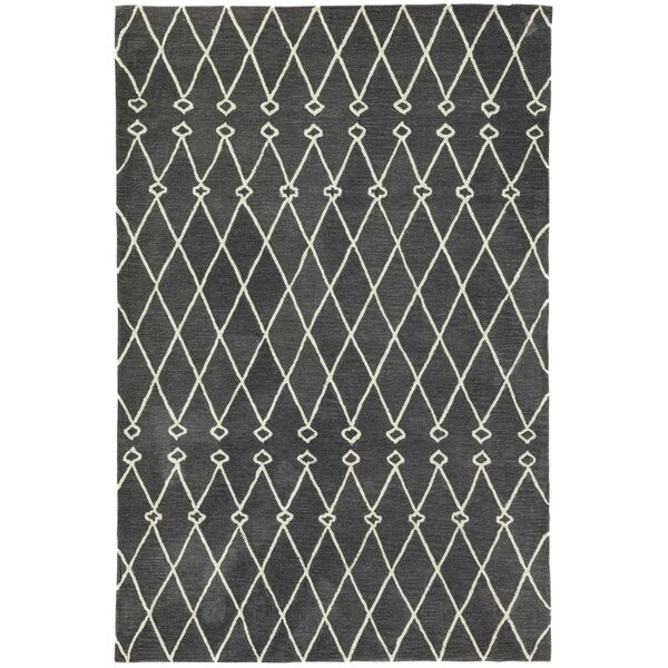 Perdita Trellis Hand-Tufted Gray/White Area Rug by Gracie Oaks