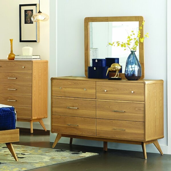 Aspen 6 Drawer Double Dresser with Mirror by Modern Rustic Interiors