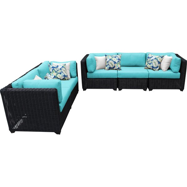 Fairfield 5 Piece Rattan Sectional Seating Group with Cushions by Sol 72 Outdoor