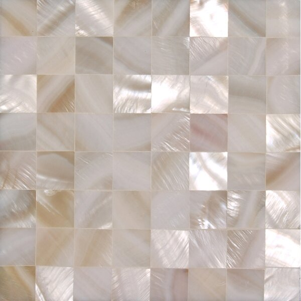 4 x 4 Authentic SeaShell Tile Seamless Square Mosaic Insert in Veined White Mother of Pearl (Set of 9) by Matrix-Z