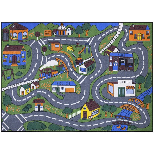 Endymion Green/Gray Area Rug by Zoomie Kids
