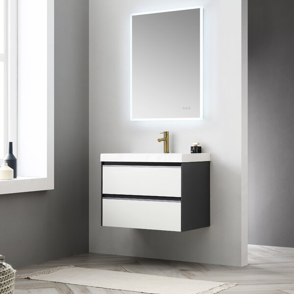 Courtnie Waterproof Ergonomic 30 Wall-Mounted Single Bathroom Vanity Set with Mirror