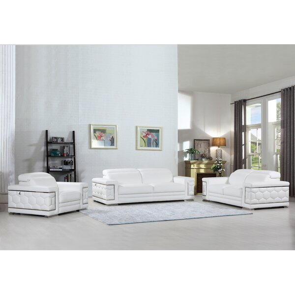 Hawkesbury Common Luxury Italian Upholstered Complete Leather 3 Piece Living Room Set by Orren Ellis