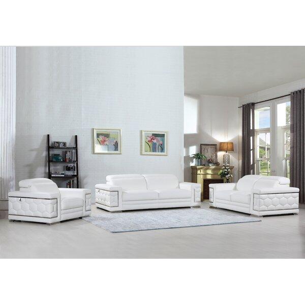Hawkesbury Common Luxury Italian Upholstered Complete Leather 3 Piece Living Room Set by Orren Ellis