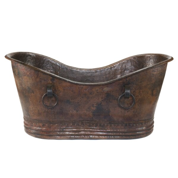 67 x 34 Hammered Copper Double Slipper Bathtub by Premier Copper Products