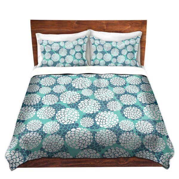Shakopee Pom Graphic Design Aqua Floral Blossoms Microfiber Duvet Covers