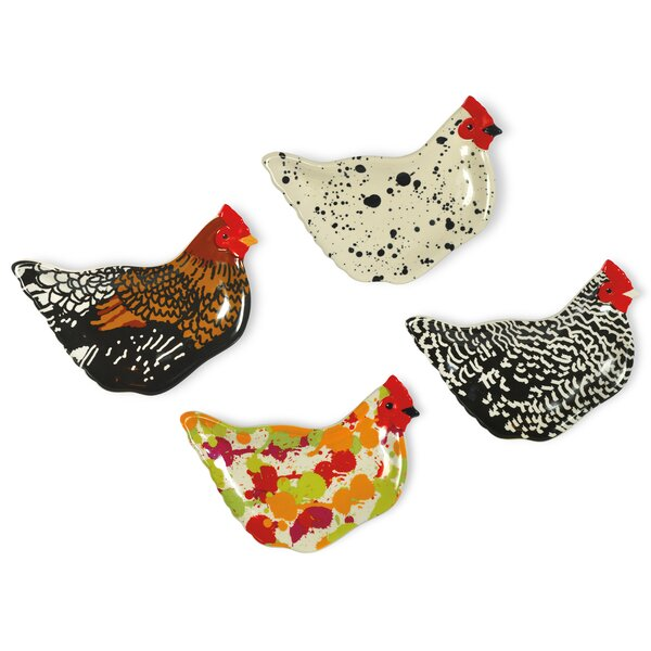 Spatter Hens 4 Piece Plate Set by Boston International