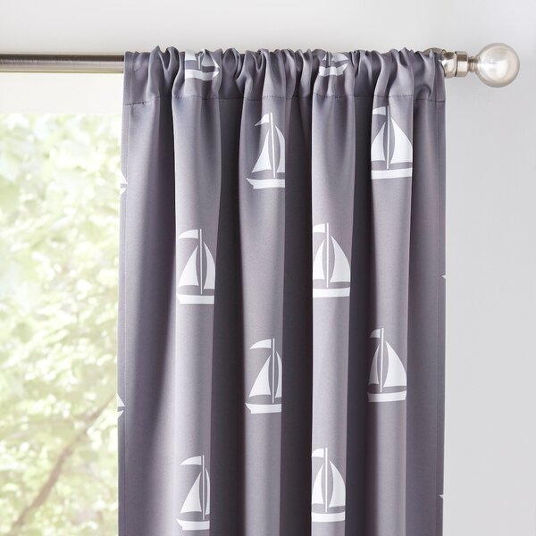 Sailboat Nautical Blackout Thermal Rod Pocket Curtain Panels (Set of 2) by Birch Lane Kids™