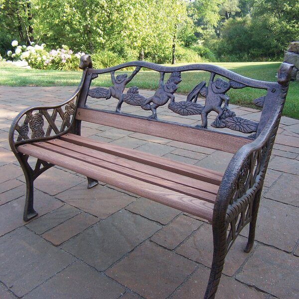 Frog Kiddy Wood and Cast Iron Park Bench by Oakland Living