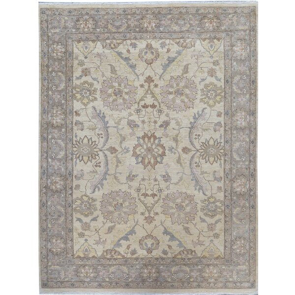 Oriental Hand-Knotted Wool Ivory/Brown Area Rug