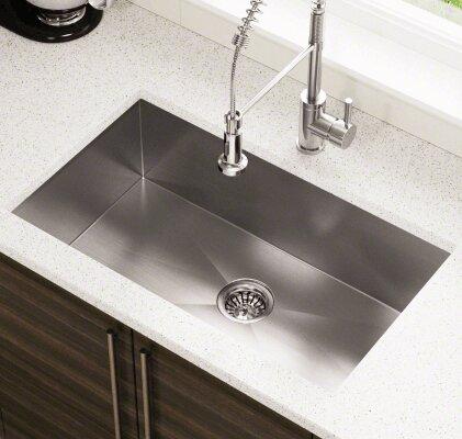 32 L x 19 W Industrial Stainless Steel Undermount Kitchen Sink