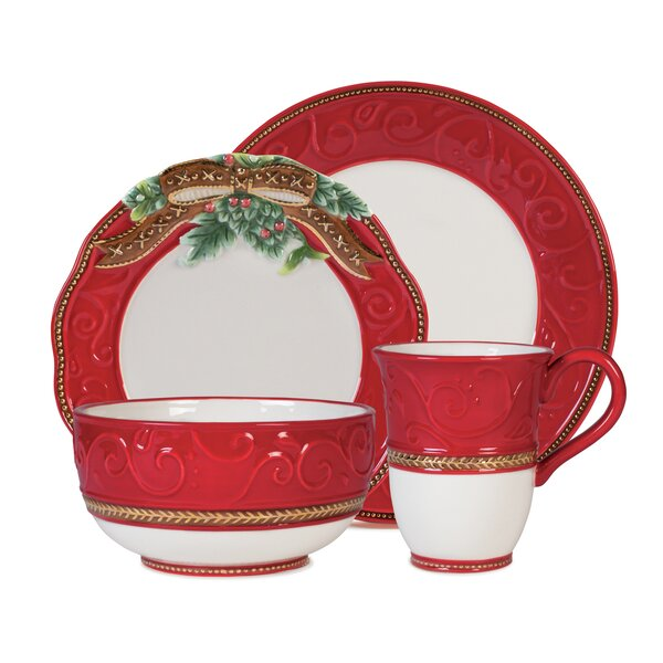 Yuletide 4 Piece Place Setting, Service for 1 by Fitz and Floyd