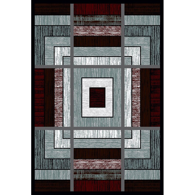 Ivy Bronx Mccampbell 3d Modern Contemporary Burgundygray Area Rug