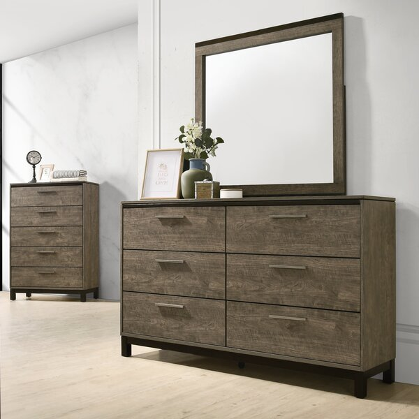 6 Drawer Double Dresser with Mirror by Gracie Oaks