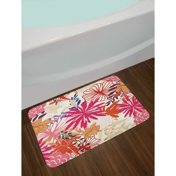 Vibrant Colored Floral Arrangement Summer Flowers Inspirations Flourishing Nature Bath Rug by East Urban Home