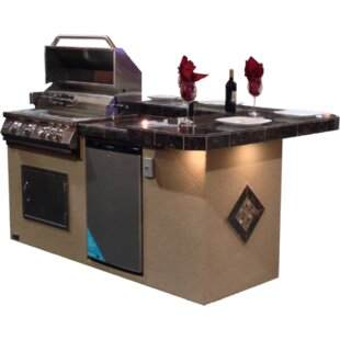 St. John BBQ Island With High Bar Outdoor Kitchen 4 Burner Built In  Convertible Gas Grill