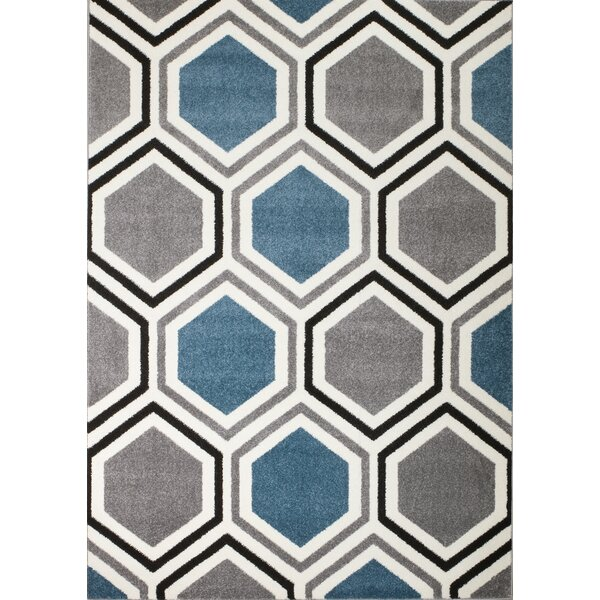 Burchell Gray/Aqua Area Rug by George Oliver