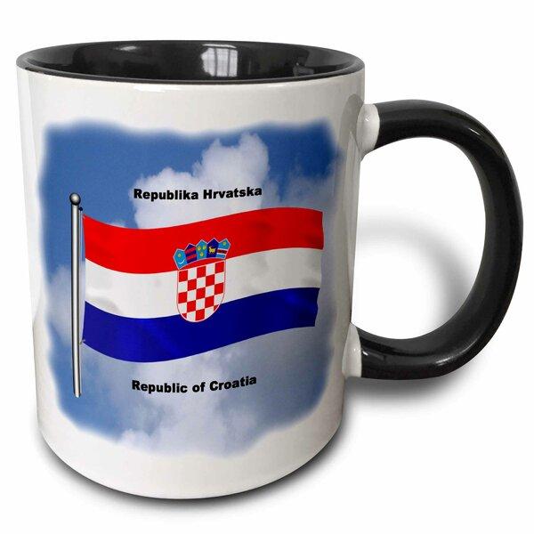 The Flag of Croatia Waving Against the Sky with the Republic of Croatia I English and Croation Coffee Mug
