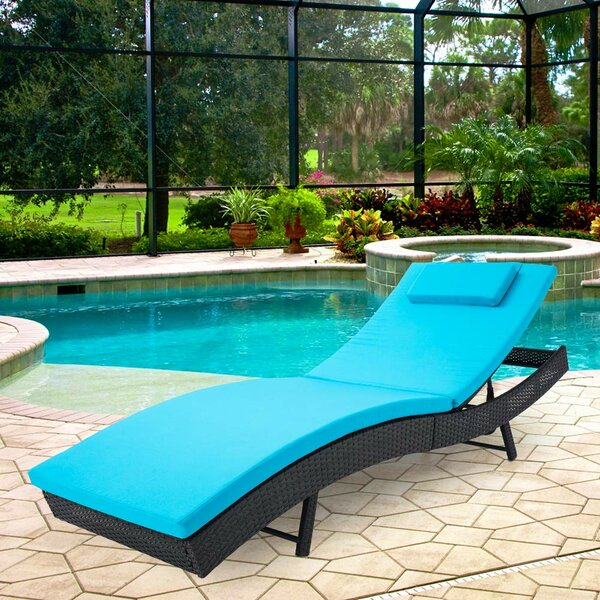 Elienor Outdoor Adjustable Lounge Wicker Chair with Blue Cushion by Ebern Designs Ebern Designs