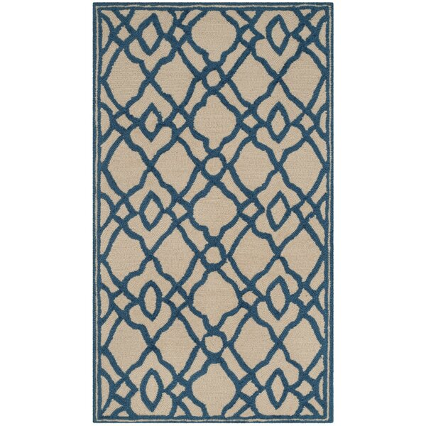 Childers Hand-Hooked Ivory/Blue Area Rug by Charlton Home