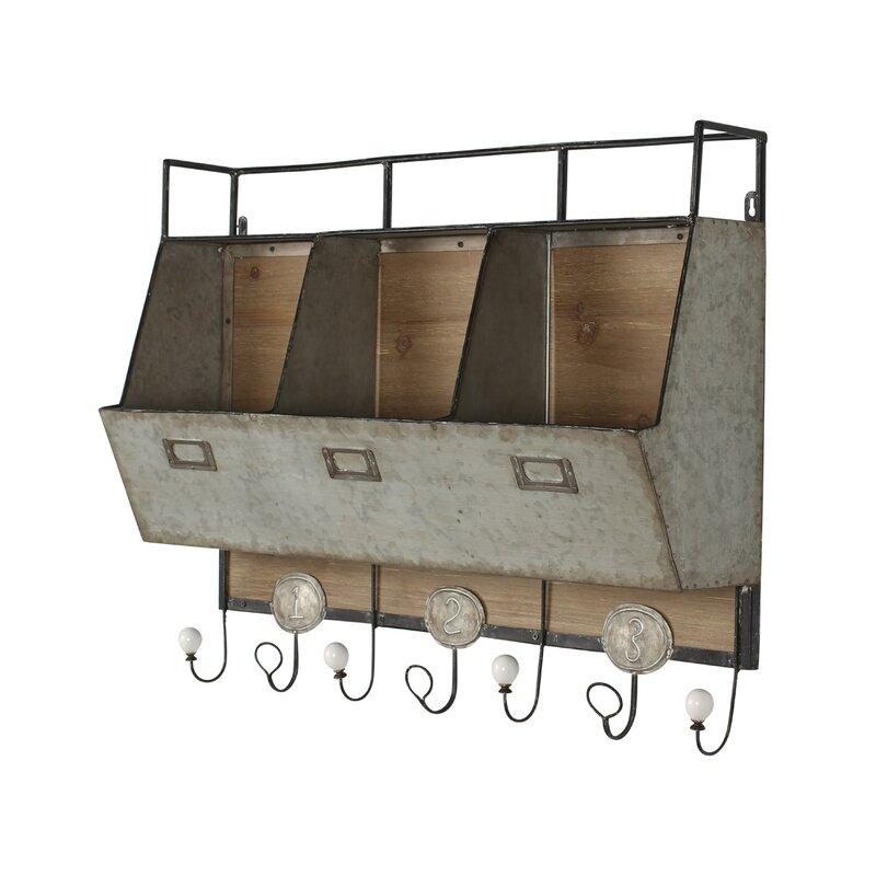 Dsov Arnica Rustic Wood And Metal Wall Storage Pockets