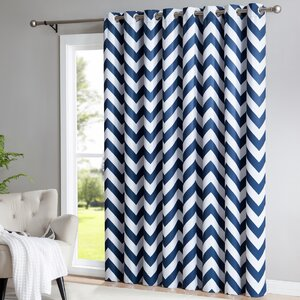 Chevron Blackout Thermal Grommet Single Curtain Panel