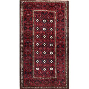 Purchase One-of-a-Kind Meghan Traditional Balouch Persian Geometric Vintage Hand-Knotted 3'7 x 6'5 Wool Red/Black Area Rug By Isabelline