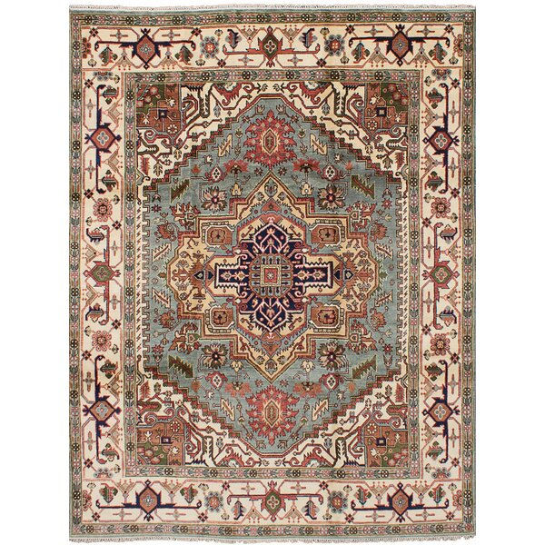 One-of-a-Kind Doerr Hand Knotted Wool Light Blue Area Rug by Isabelline