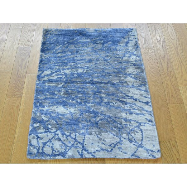 One-of-a-Kind Chagoya Abstract Design Art Hand-Knotted Silk Area Rug by Isabelline