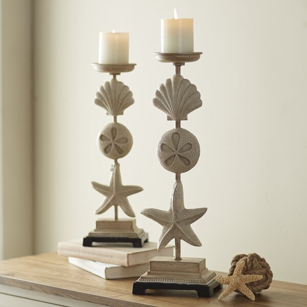 2 Piece Stone Candlestick Set by Rosecliff Heights