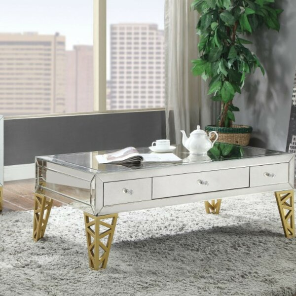 Sanni Modern Rectangular Metal And Mirror Coffee Table With Storage By Everly Quinn