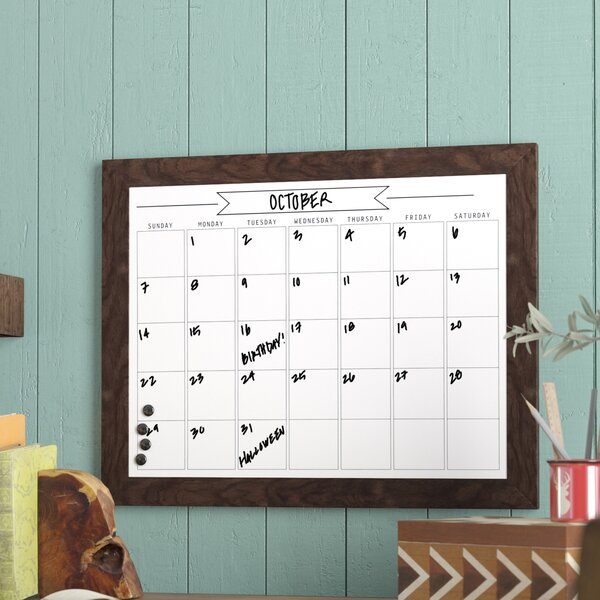 Framed Monthly Write On Calendar Magnetic Wall Mounted Dry Erase Board
