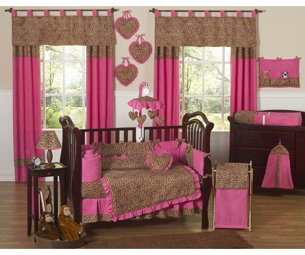 Cheetah Pink 9 Piece Crib Bedding Set by Sweet Joj