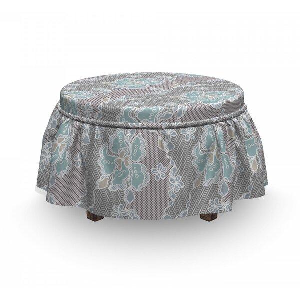Free S&H Floral Victorian Vintage Soft 2 Piece Box Cushion Ottoman Slipcover Set