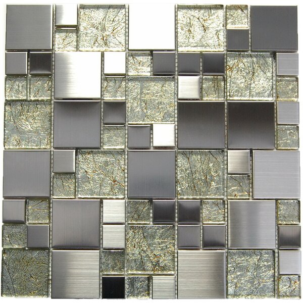 Random Sized Mixed Material Mosaic Tile in Green/Gray by Luxsurface