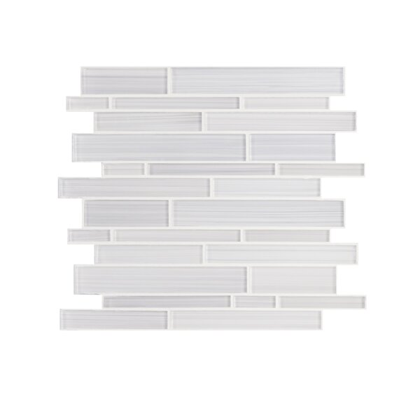 Hand Painted Series Random Sized Glass Mosaic Tile in White by WS Tiles