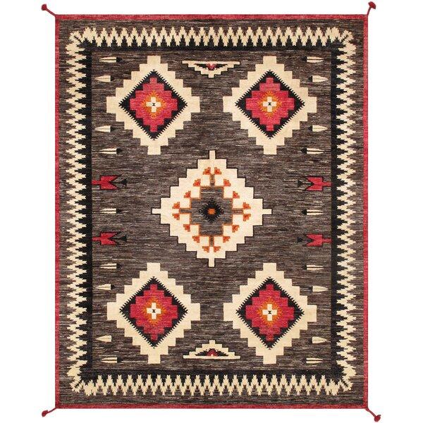 Southwestern Handmade Flatweave Wool Brown Area Rug
