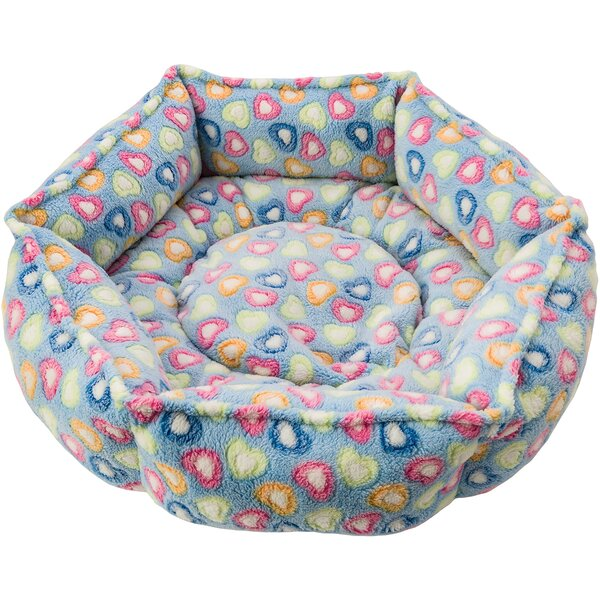 Sleep Zone Hexagon Cuddlier Hearts Bolster Dog Bed by Ethical Pet