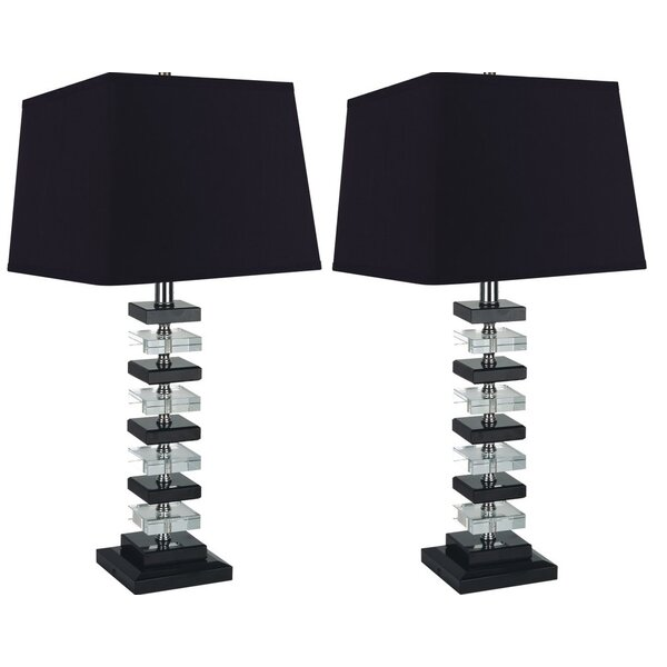 Rinki Solid Crystal 26 Table Lamp (Set of 2) by Everly Quinn