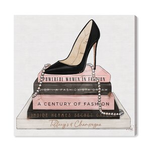 'Classic Stiletto and High Fashion Books' Graphic Art Print on Canvas by Oliver Gal