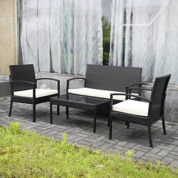 Belser All-Weather 4 Piece Rattan Complete Patio Set With Cushions By Brayden Studio