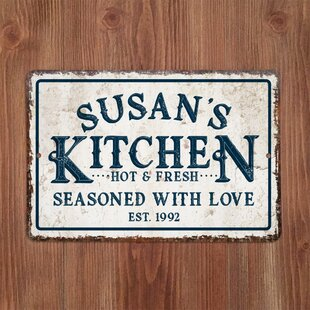 Personalized Distressed Vintage Look Kitchen Metal Sign Wall Décor