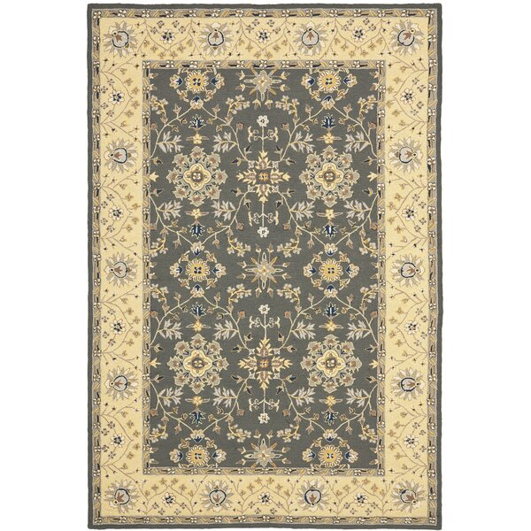 Driffield Hand-Hooked Grey / Cream Area Rug by Charlton Home