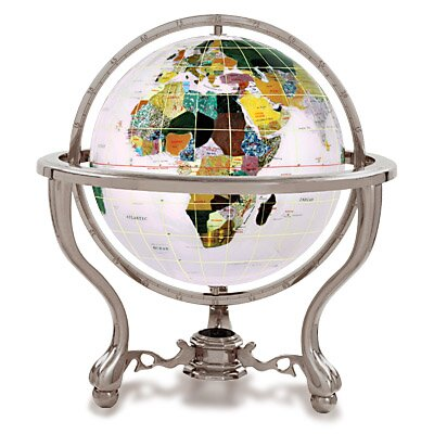 Gemstone Globe with Opalite Ocean and Commander 3-Leg Table Stand by Astoria Grand