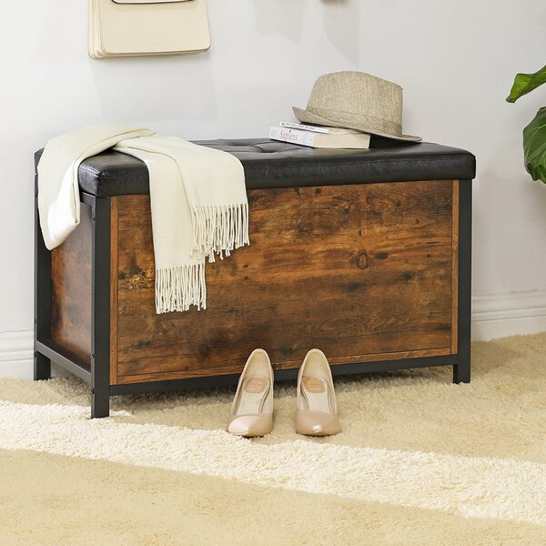 Maysonet Faux Leather Flip Top Storage Bench