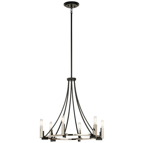 Canis 6-Light Candle Style Wagon Wheel Chandelier By Wade Logan