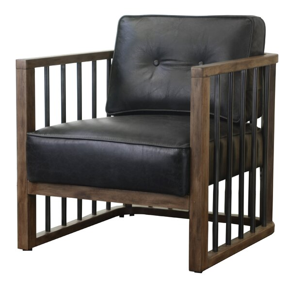 Review Shelton Wood-Framed Leather And Metal Armchair