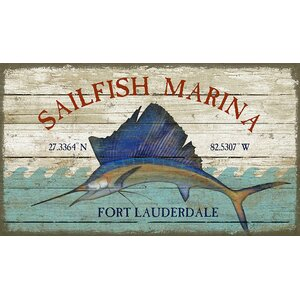 'Sailfish Marina' by Suzanne Nicholl Graphic Art Print on Wood by Red Horse Arts